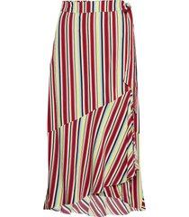 dhgracia wrap skirt multi colour st knälång kjol röd denim hunter