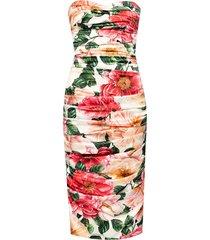 floral-bedrukte zijden jurk