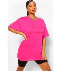 plus crème de la crème t-shirt met tekst, roze