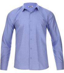 camisa m/l mini puntos color azul, talla l