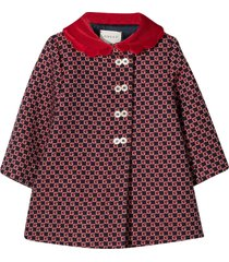 gucci red coat with gg pattern