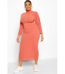 plus soft rib roll neck midaxi dress, rose