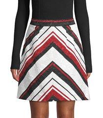 chevron-striped a-line skirt
