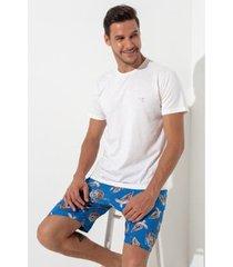 conjunto de pijama acuo manga curta tartaruga masculino