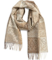 loewe anagram wool & cashmere scarf in white/beige at nordstrom