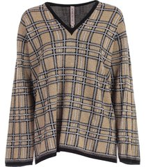 antonio marras sweater l/s v neck check lurex