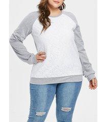 plus size lace panel pullover contras sweatshirt