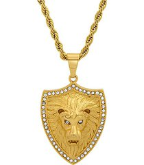 18k goldplated stainless steel & simulated diamond lion shield pendant necklace