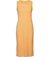 modern sleeveless midi dress knälång klänning gul gap
