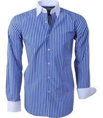 brentford and son heren overhemd ongetailleerd gestreept - blauw