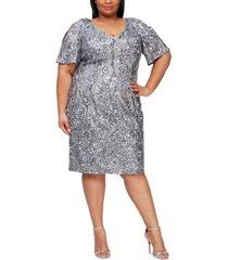 alex evenings plus size sequined sheath dress