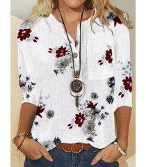 camicetta da donna con colletto alla coreana a maniche lunghe con stampa floreale