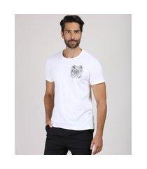 """camiseta masculina slim royalty"""" manga curta gola careca off white"""""""