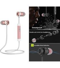 audifonos bluetooth, le-211 metal estéreo hd manos libres inalámbrico audifonos impermeable deportivos corriendo ruido cancelación de  auriculares para sony iphone samsung (rosa)
