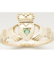 10k gold claddagh ring with emerald size 7