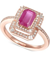 certified ruby (1 ct.t.w.) & diamond (1/3 ct. t.w.) statement ring in 14k rose gold