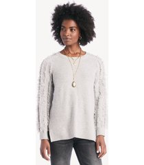 1.state women's crewneck fringe sleeve sweater in color: heather size xs from sole society