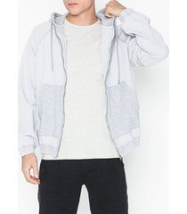 topman grey denim hoodie with jersey jackor light grey