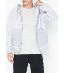 topman grey denim hoodie with jersey jackor light grey