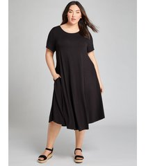 lane bryant women's high-low swing dress 14/16 black
