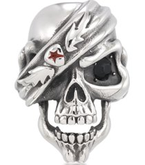 andrew charles by andy hilfiger men's black cubic zirconia & red enamel pirate skull ring in stainless steel