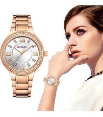 curren reloj mujer elegante cristal diamante acero análogo