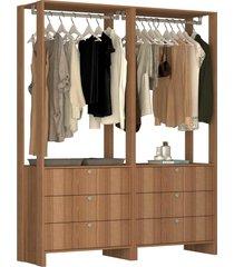guarda roupa closet 2 peã§as 2 cabideiros e 6 gavetas yes nova mobile marrom - marrom - dafiti