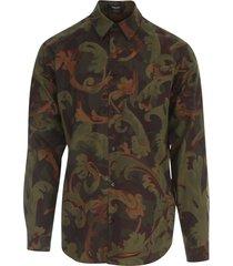 military baroque printing shirt