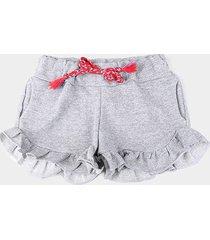shorts infantil costão babados moletom feminino