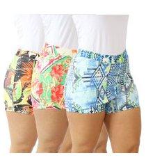 kit 3 shorts saia feminina bandage fitness viscolycra