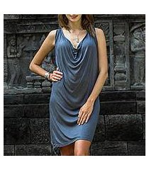 rayon dress, 'grey ripple effect' (indonesia)