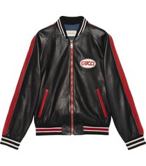 gucci leather bomber with gucci pool patch - black