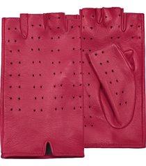 forzieri designer women's gloves, women's red perforated fingerless leather gloves