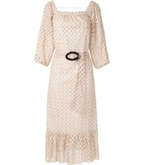 olympiah orchid belted midi dress - neutrals