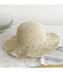 sombrero para mujer, hecho a mano paja ganchillo sra.-beige