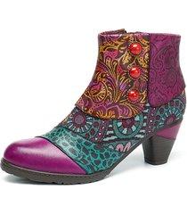 socofy bohemien stivaletti alla caviglia in pelle con motivo di splicing con bottone e zip