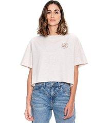 camiseta corta con algodón reciclado cuello redondo con estampado en punto corazón color blue