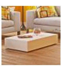 mesa de centro retangular bely - 100% mdf - acabamento em laca branco