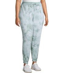 marc new york performance women's plus tie-dye terry joggers - sage - size 1x (14-16)