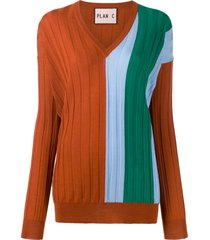 plan c oversized panelled pullover - orange