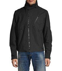 hooded zip-front cotton jacket
