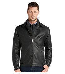 signature collection traditional fit leather bomber jacket clearance
