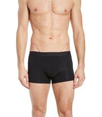 men's hanro stretch cotton essentials boxer briefs, size small - black