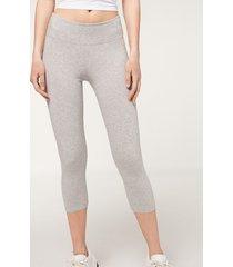 calzedonia supima cotton capri leggings woman grey size s