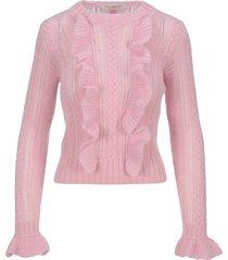 philosophy ruffled detail knit sweater