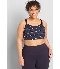 lane bryant women's livi wicking low-impact no-wire sport bra - strappy back 10/12 stamped star