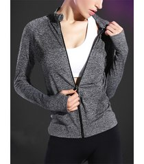 grey zip diseño crew cuello abrigo de manga larga