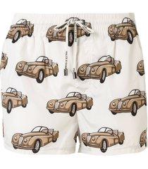 dolce & gabbana car print swim shorts - neutrals