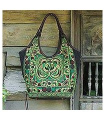leather accent embroidered shoulder bag, 'jade pheasants' (thailand)