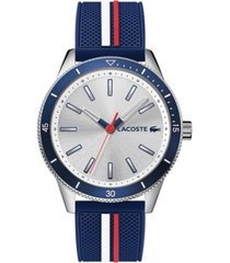 lacoste men's key west blue rubber strap watch 42mm